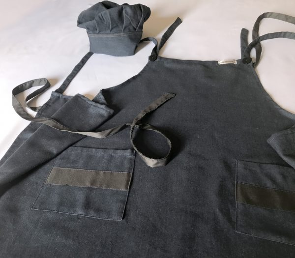 24. Avental adulto jeans + touca
